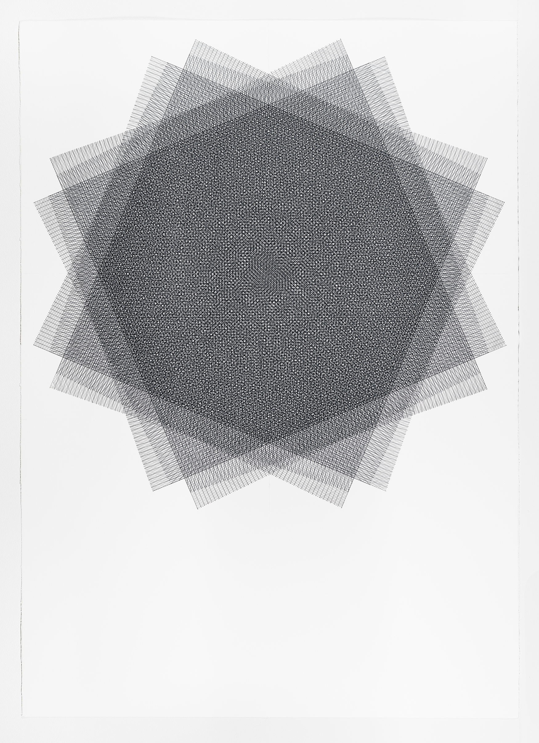 16 layers rotated 22.5 degrees, grey, 40 x 30 inches, 2015